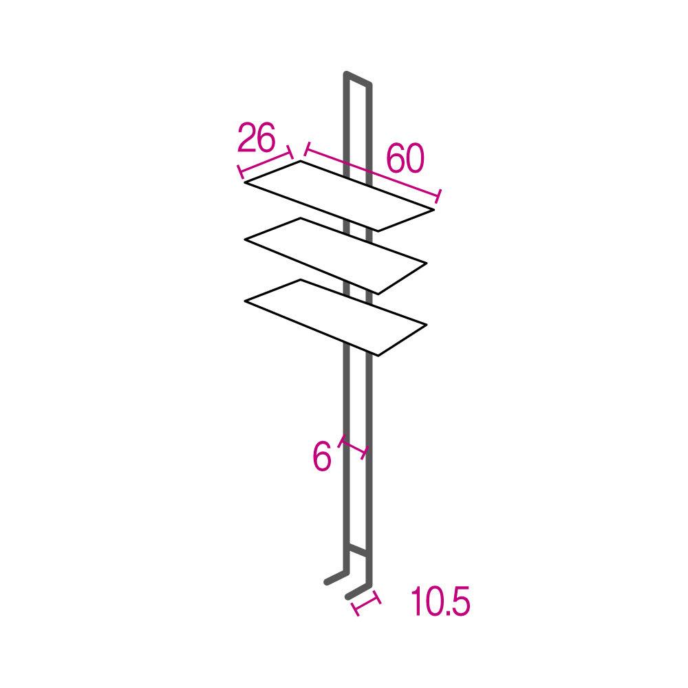 1本脚ですっきり置ける カフェ風スマートランドリーラック 棚3段 幅60cm・奥行30cm・高さ205~240cm ※詳細図(単位:cm) 収納部はそれぞれ10cm間隔で高さが変えられます。