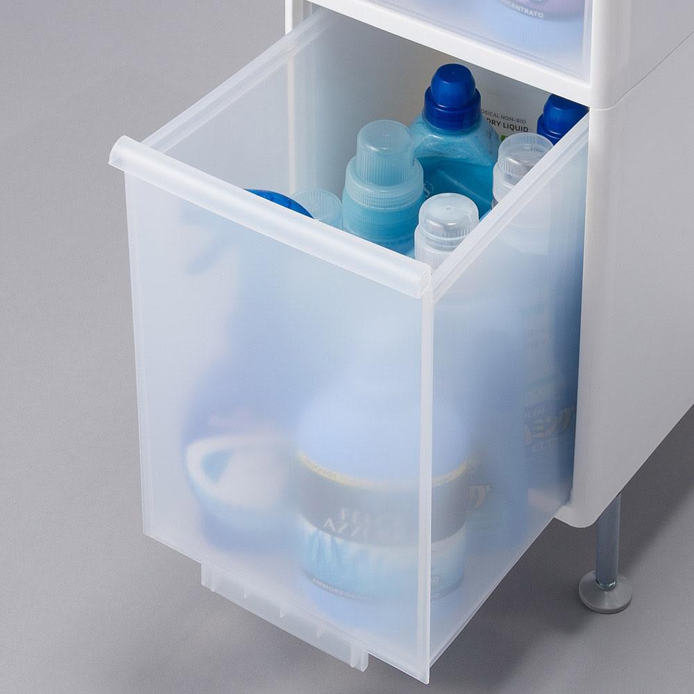 段差がまたげる隙間収納 アジャスター付きストッカー スリム中2深1 幅14高さ92cm 最下段は背の高いボトルもすっぽり入るサイズです。(内寸高さ30.8cm)