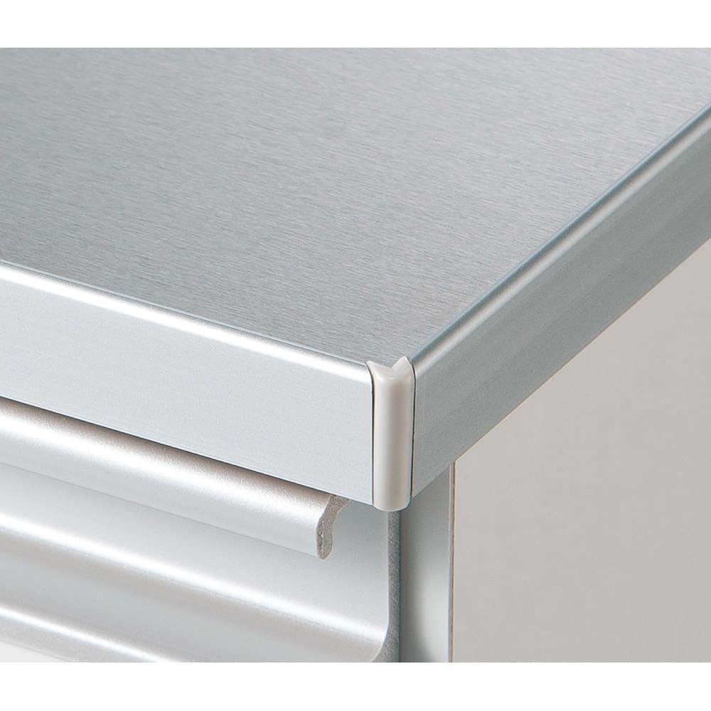 組立不要 水や汚れに強いステンレス天板 サニタリーチェスト 幅75cm・奥行32cm ステンレスの角が肌に直接当たらない安心設計。