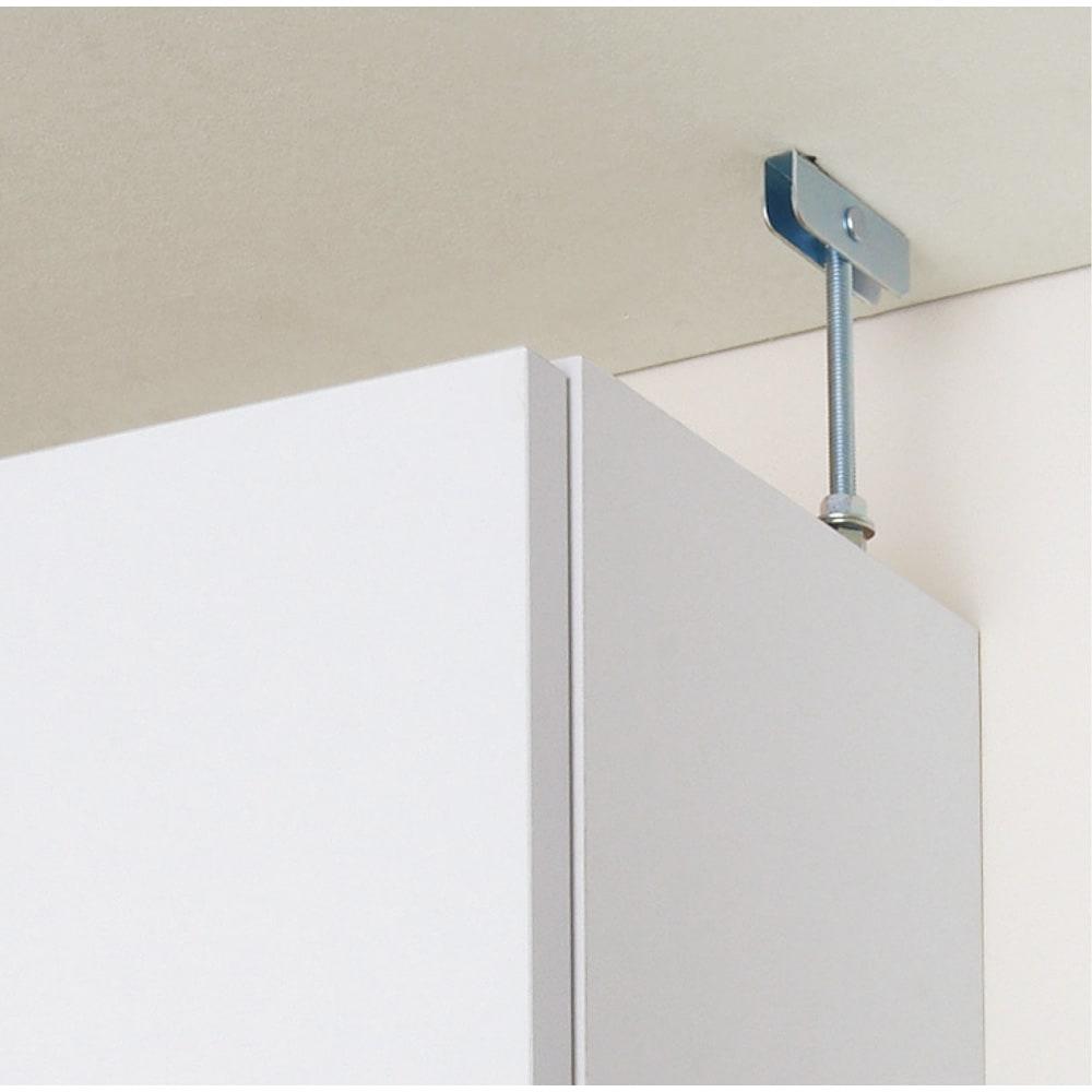 組立不要 天井まで使える薄型サニタリーチェスト 奥行31.5cmタイプ・幅50cm 天井突っ張りでしっかり設置できます。