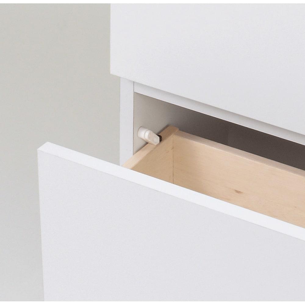 組立不要 天井まで使える薄型サニタリーチェスト 奥行31.5cmタイプ・幅50cm 引き出しは抜けを防ぐストッパー付き。