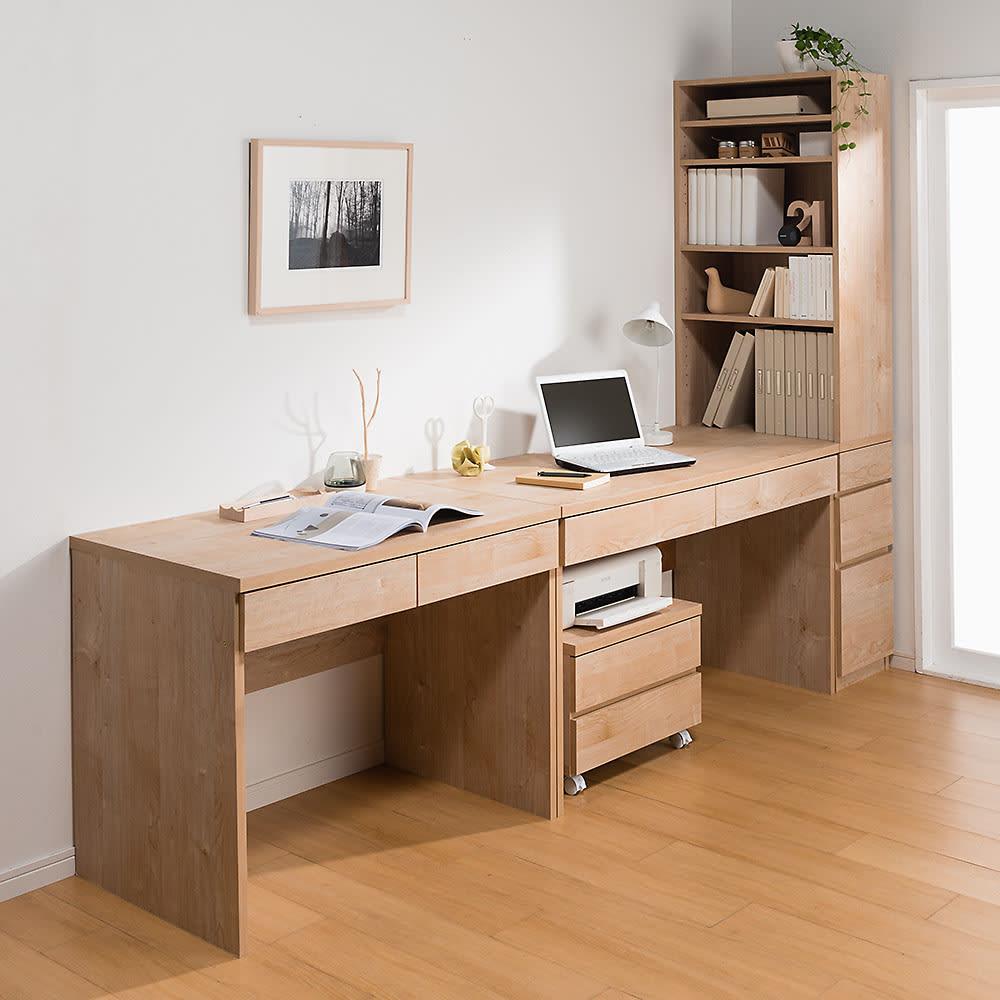 天然木調 配線すっきりデスクシリーズ デスク・幅120cm奥行60cm コーディネート例(イ)ナチュラル ※お届けはデスク・幅120cmです。
