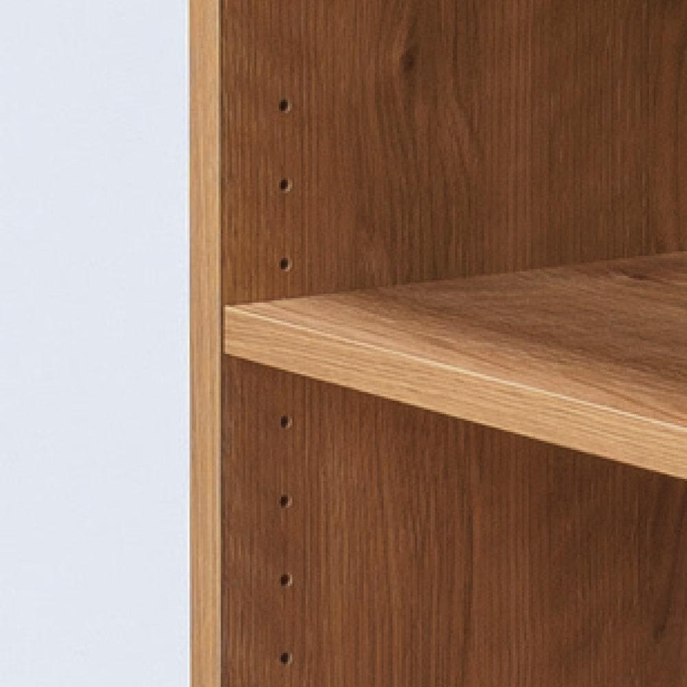 天然木調 配線すっきりデスクシリーズ サイドラック・幅30奥行60高さ180cm 可動棚板は用途に合わせて3cmピッチで調節可能。