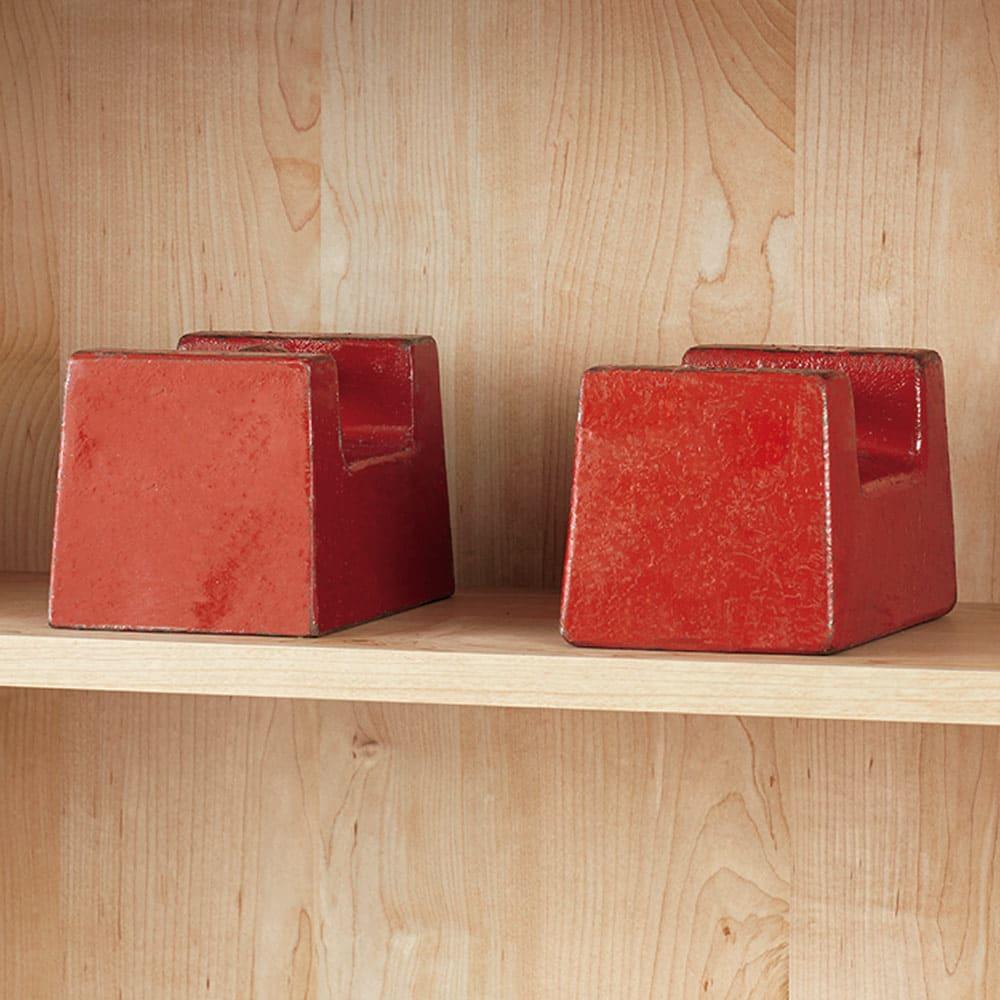 ホームライブラリーシリーズ キャビネット 幅80cm  突っ張りタイプ 棚板は内部に2本の鉄板を入れ補強。棚板1枚当たり耐荷重約30kgの頑丈仕様です。