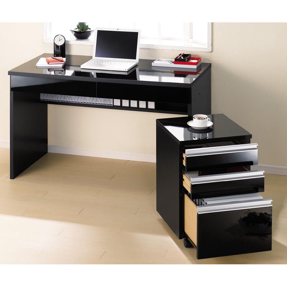 引き出し付き 光沢仕上げアーバンデスクシリーズ デスク 幅150cm (イ)ブラック色見本 ※お届けはデスクのみです。