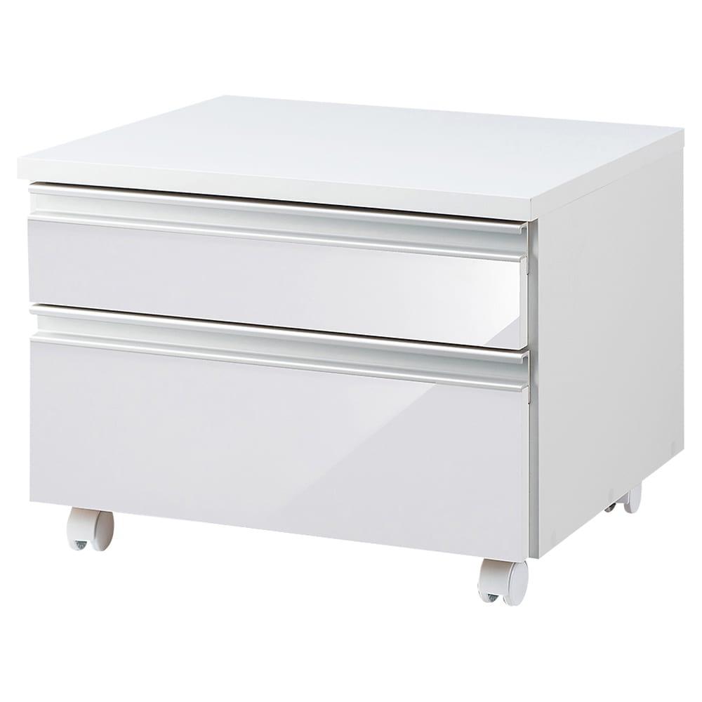 引き出し付き 光沢仕上げアーバンデスクシリーズ プリンターカート (ア)ホワイト
