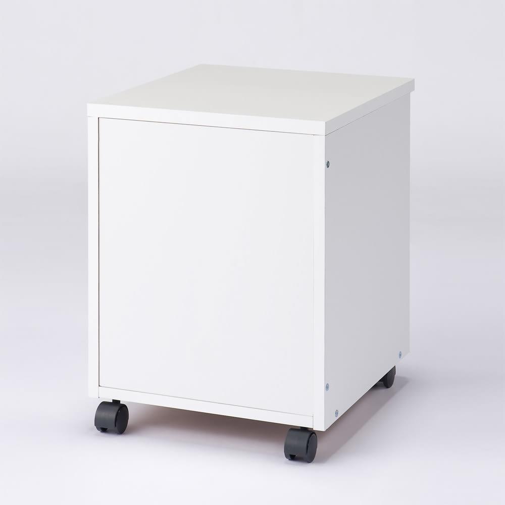 パイン天然木 薄型シンプルデスクシリーズ チェストワゴン 背面イメージ:(イ)ホワイト