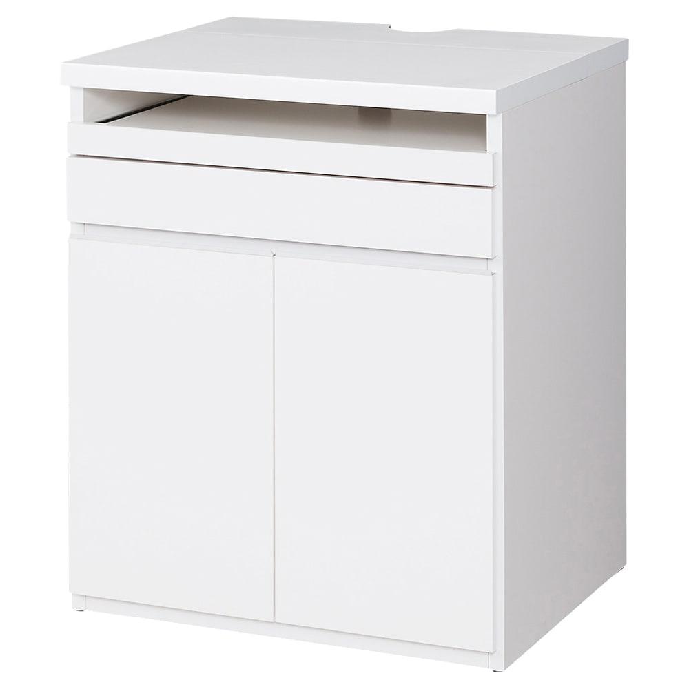 オールインワン!組立不要 マルチ収納パソコンデスク 幅60cm (ア)ホワイト