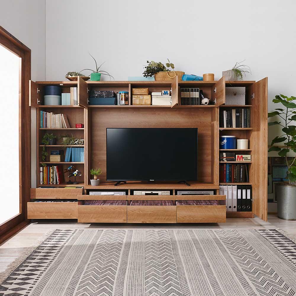 天然木調テレビ台ハイバックシリーズ テレビ台・幅100.5奥行45cm コーディネート例