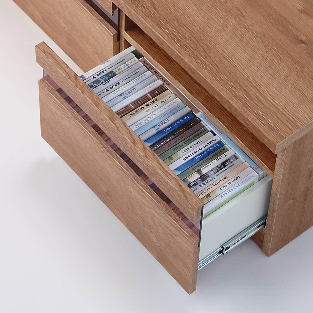 天然木調テレビ台ハイバックシリーズ テレビ台・幅120.5奥行45cm DVDのタイトルが見えるように収納できます