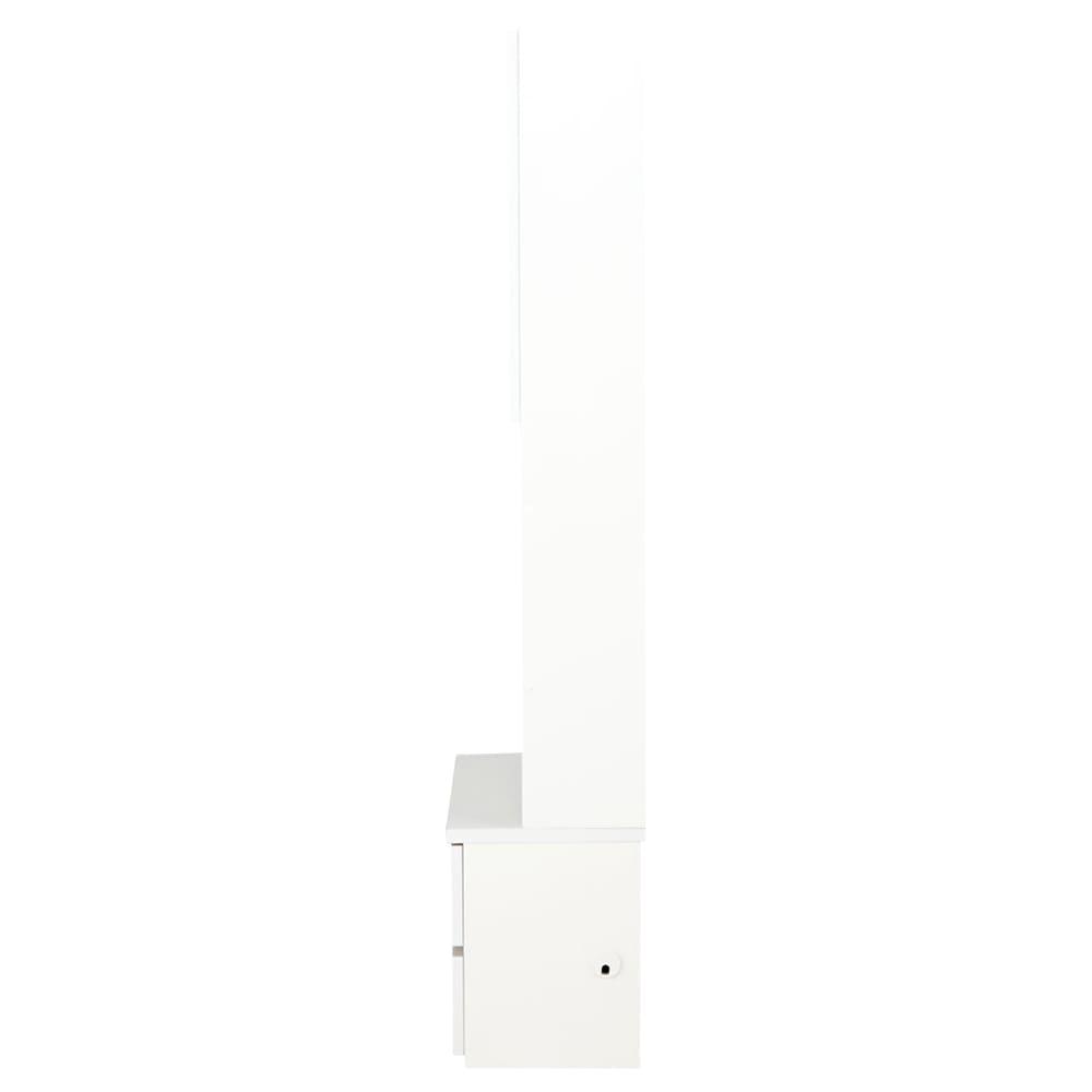 コーナーテレビ台壁面収納シリーズ キャビネット幅75cm オープン&引き出し 横から テレビ台から通せるようにコード穴を付けています。(ア)ホワイト