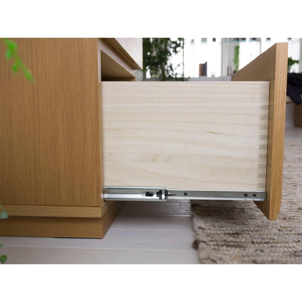 オーク材アールデザインリビングシリーズ チェスト 幅50cm 下段は引き出しやすいフルスライドレール仕様。