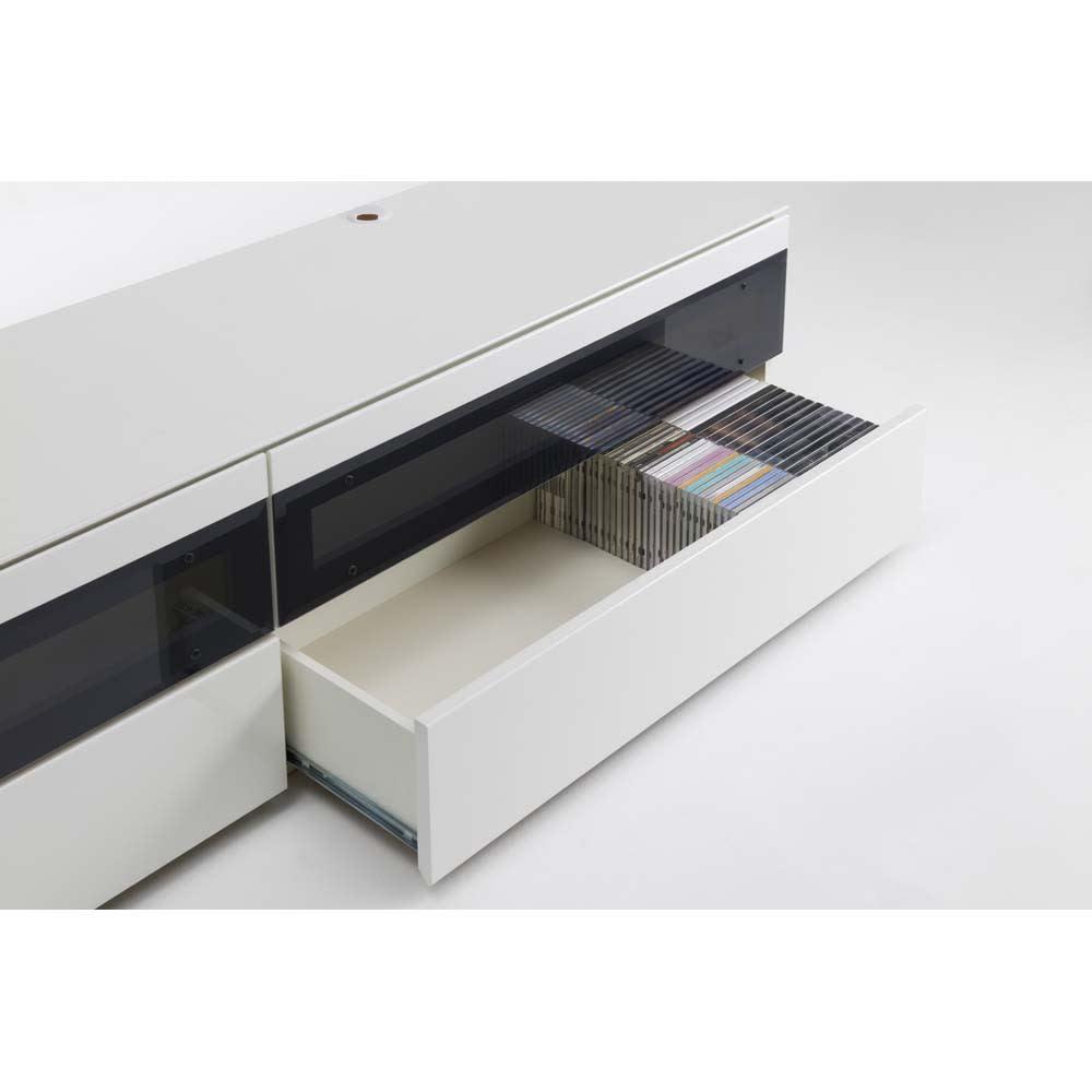 パモウナBW-160 輝く光沢のモダンリビングシリーズ テレビ台 幅160cm 引出にはDVDやCD等のソフト類が収納できます。 (引出耐荷重:20kg)