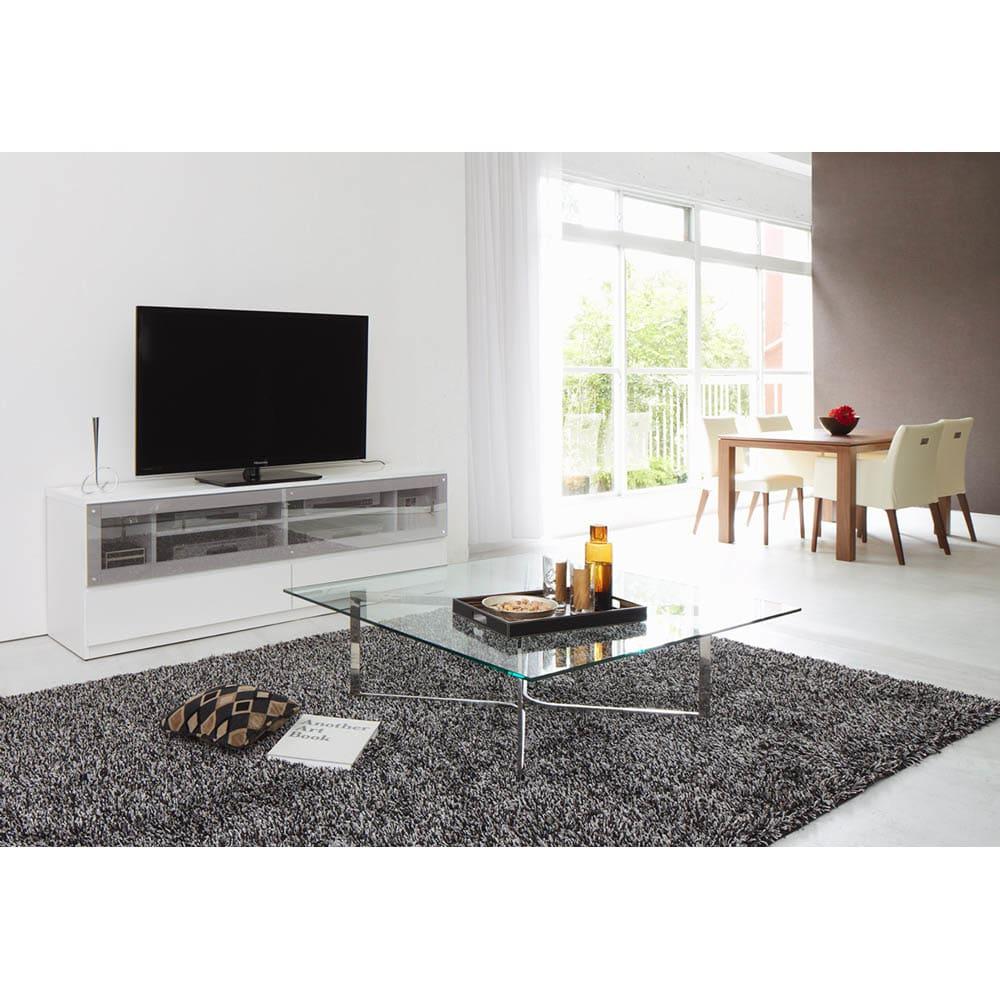 ソファや椅子からも見やすい高さ60cmの テレビ台 幅150cm (ア)ホワイト色見本 ※写真はテレビ台幅180です。
