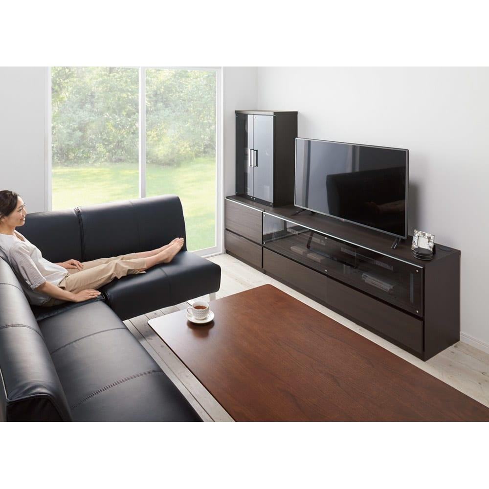 ソファや椅子からも見やすい高さ60cmの テレビ台 幅150cm (イ)ダークブラウン