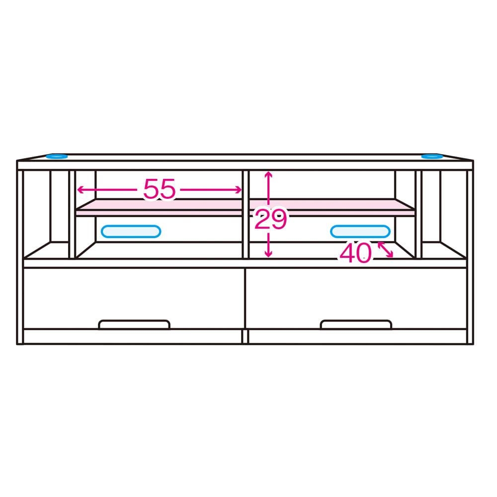 ソファや椅子からも見やすい高さ60cmの テレビ台 幅150cm 内寸図 ※赤文字は内寸(単位:cm)※青色部分はコード穴 ※ピンク色は可動棚板(棚板奥行35)3cm間隔3段階可動