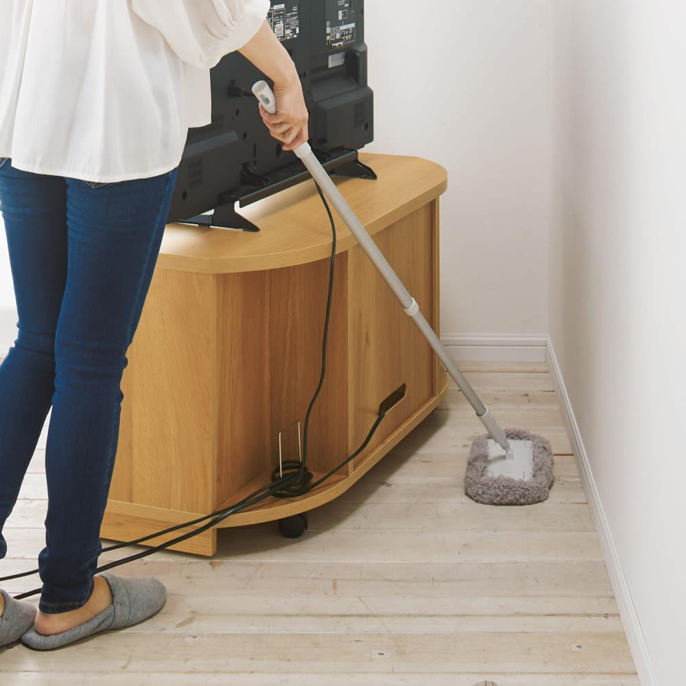 角度が自由自在の収納充実コーナーテレビ台 幅100高さ50cm 隠しキャスターで掃除も楽々。