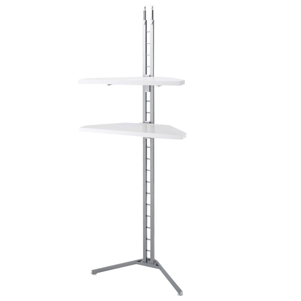 テレビ上の空間を有効活用できる突っ張り式スペースラックコーナー用 幅90cm・2段 (イ)ホワイト