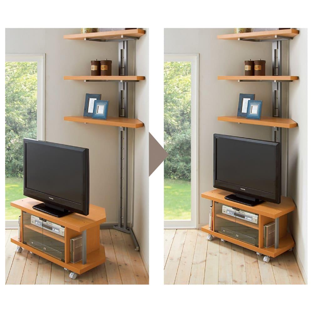 テレビ上の空間を有効活用できる突っ張り式スペースラック コーナーシェルフ 幅90cm・3段 コーナーを有効活用 テレビ台は別売りです。