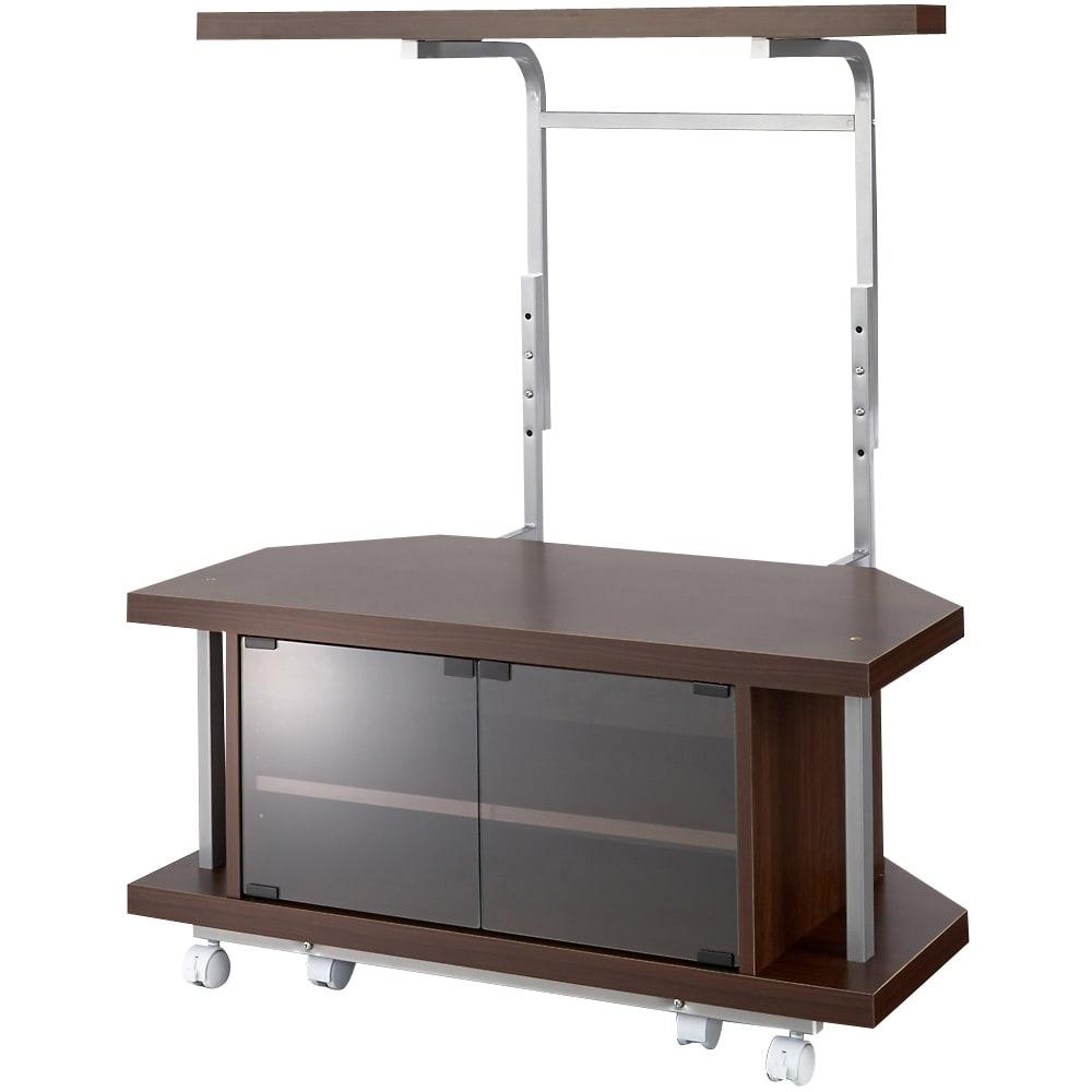 テレビ上の空間を有効活用できるシリーズ コーナー用テレビ台 幅90cm・棚1段 (ウ)ダークブラウン うしろの棚の高さは高さ調節ができます。