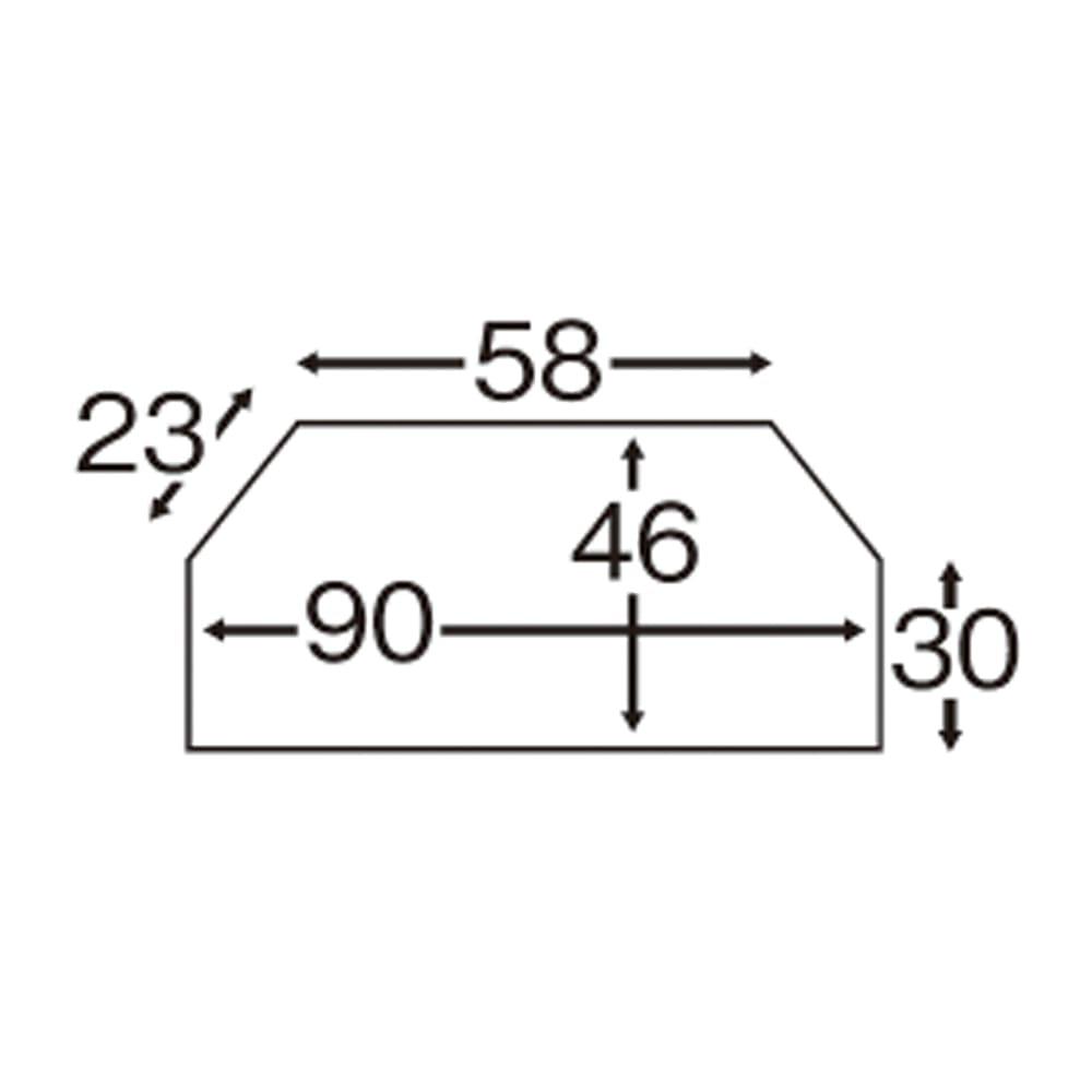 テレビ上の空間を有効活用できるシリーズ コーナー用テレビ台 幅90cm・棚2段 テレビ設置天板の平面図(単位:cm)