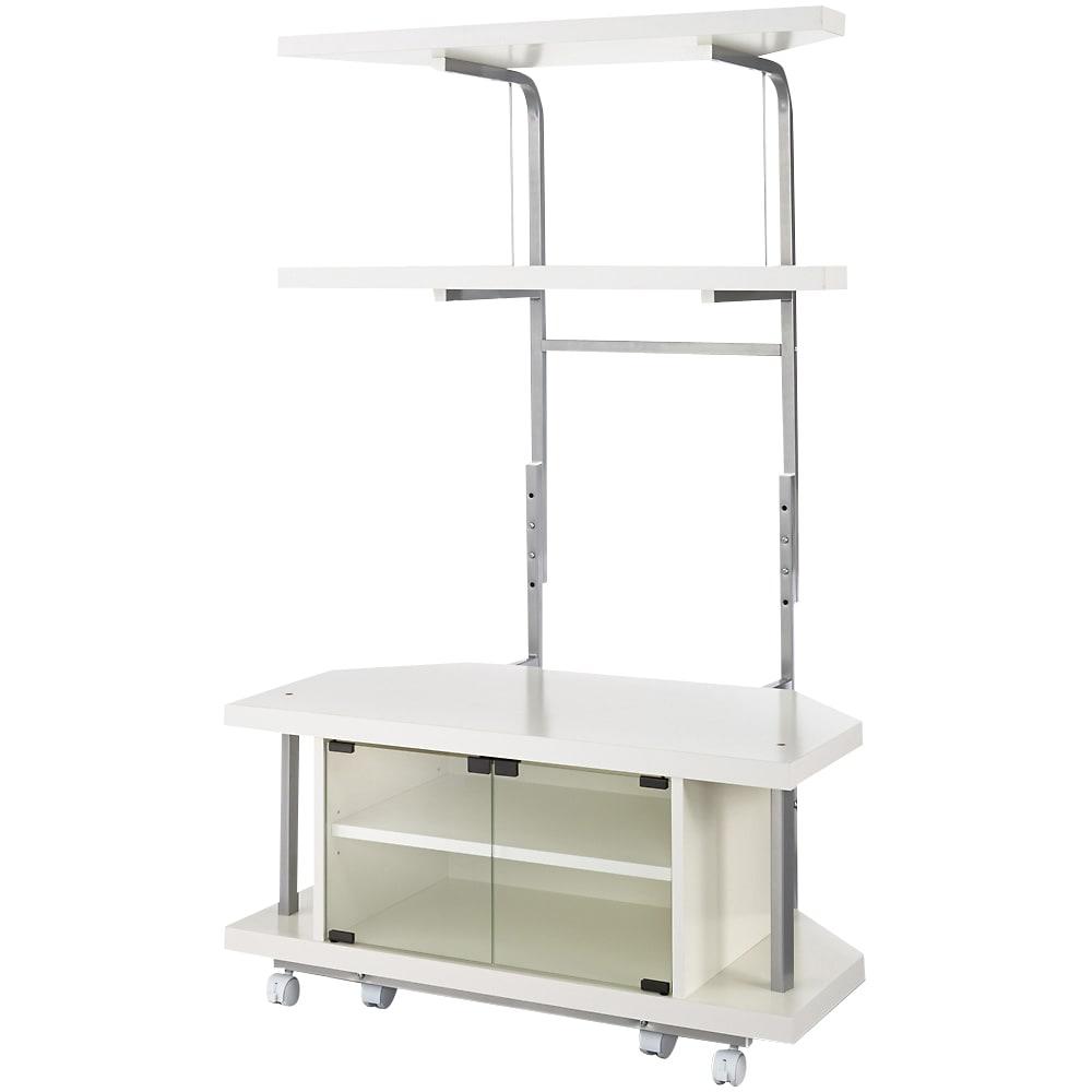 テレビ上の空間を有効活用できるシリーズ コーナー用テレビ台 幅90cm・棚2段 (イ)ホワイト うしろのラックは高さ調節ができます。