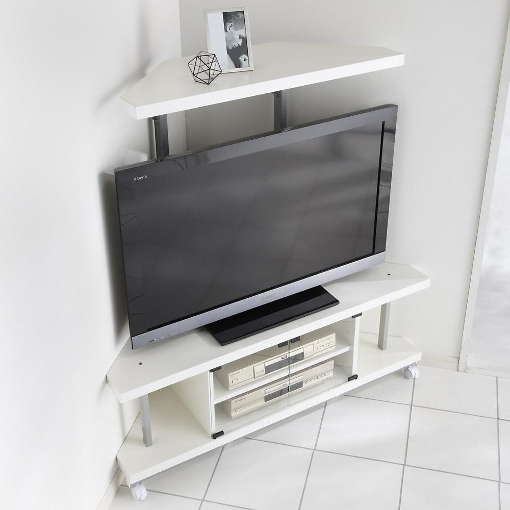 テレビ上の空間を有効活用できるシリーズ コーナー用テレビ台 幅120cm棚1段 (イ)ホワイト
