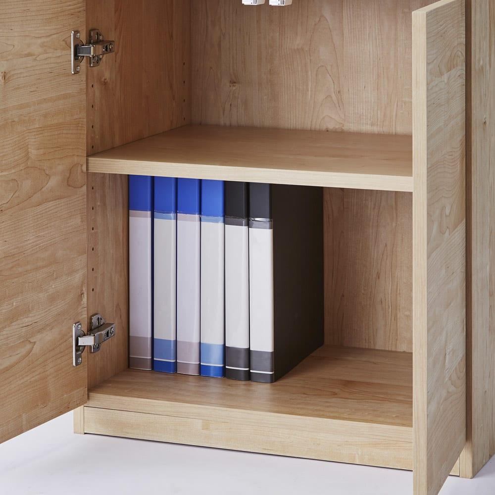 テレワークにも最適 北欧スタイルリビング収納シリーズ PCキャビネット幅60cm オープン部は可動棚板が1枚付属します。※PCキャビネットタイプの最下部はスライド棚となります。