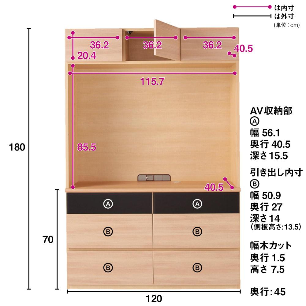 奥行44cm 生活感を隠すリビング壁面収納シリーズ テレビ台 ハイタイプ 幅120cm (イ)ナチュラル