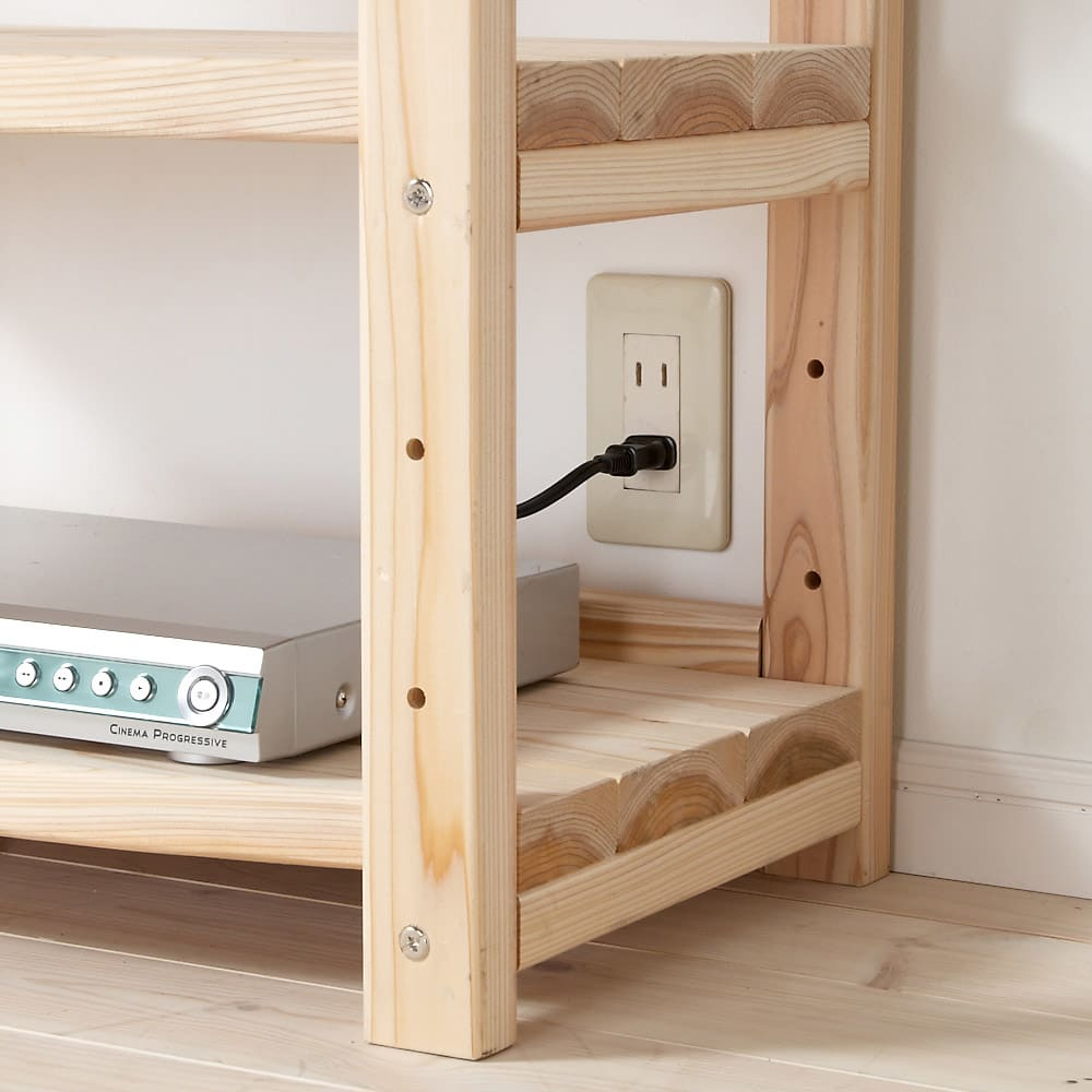 国産杉 頑丈オープンラック 奥行35cm 幅89cm 高さ89cm 背板がないのでコンセントやスイッチが使えます。