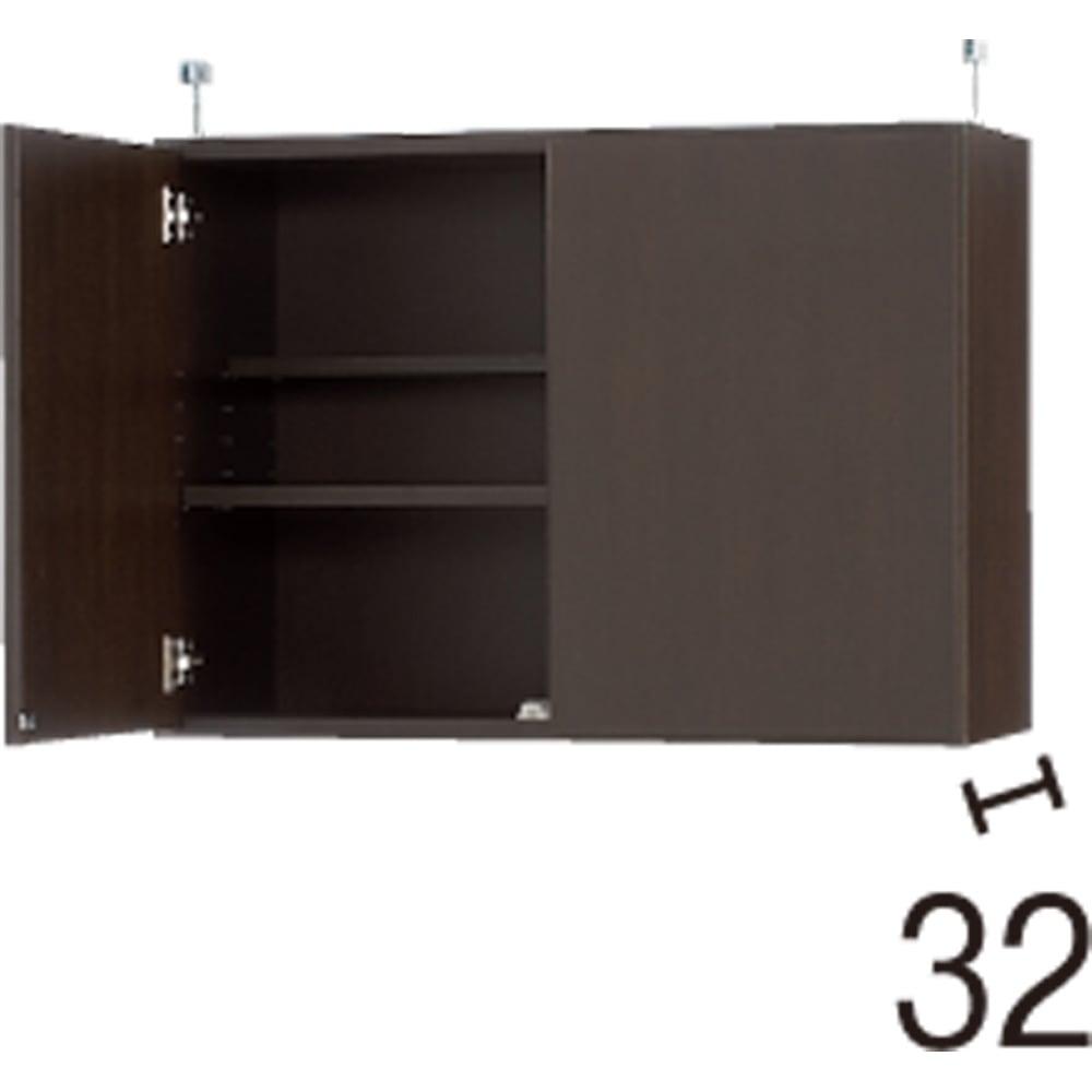 効率収納できる段違い棚シェルフ [突っ張り上置き 板扉タイプ 開き戸 幅75.5cm] 上置き高さ54.5cm (イ)ダークブラウン