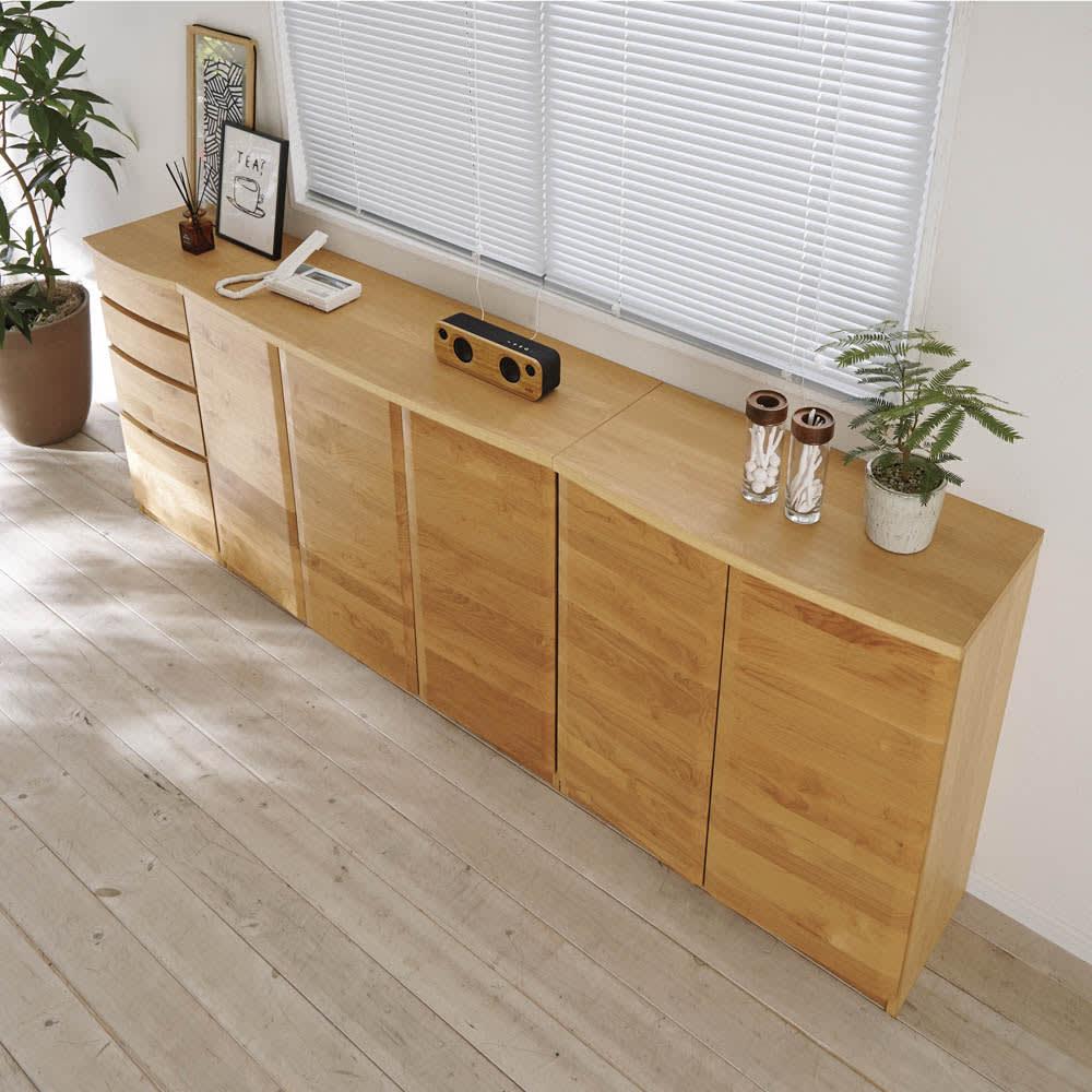 アルダー天然木 アールデザインブックシェルフ 引き出し 幅41.5cm コーディネート例(ア)ナチュラル ※お届けは引き出しタイプです。