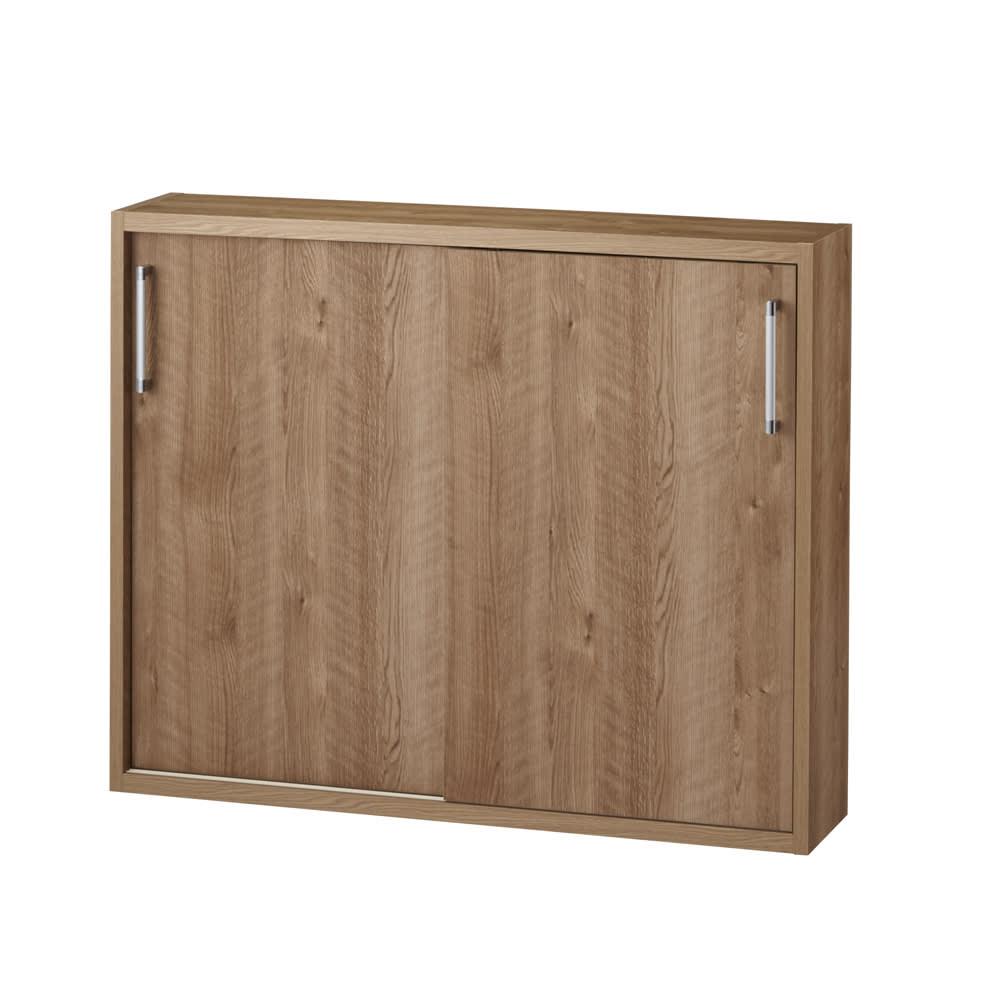 省スペースで大量収納!天然木調引き戸本棚 ロータイプ 高さ90幅115奥行40cm (ア)ブラウン