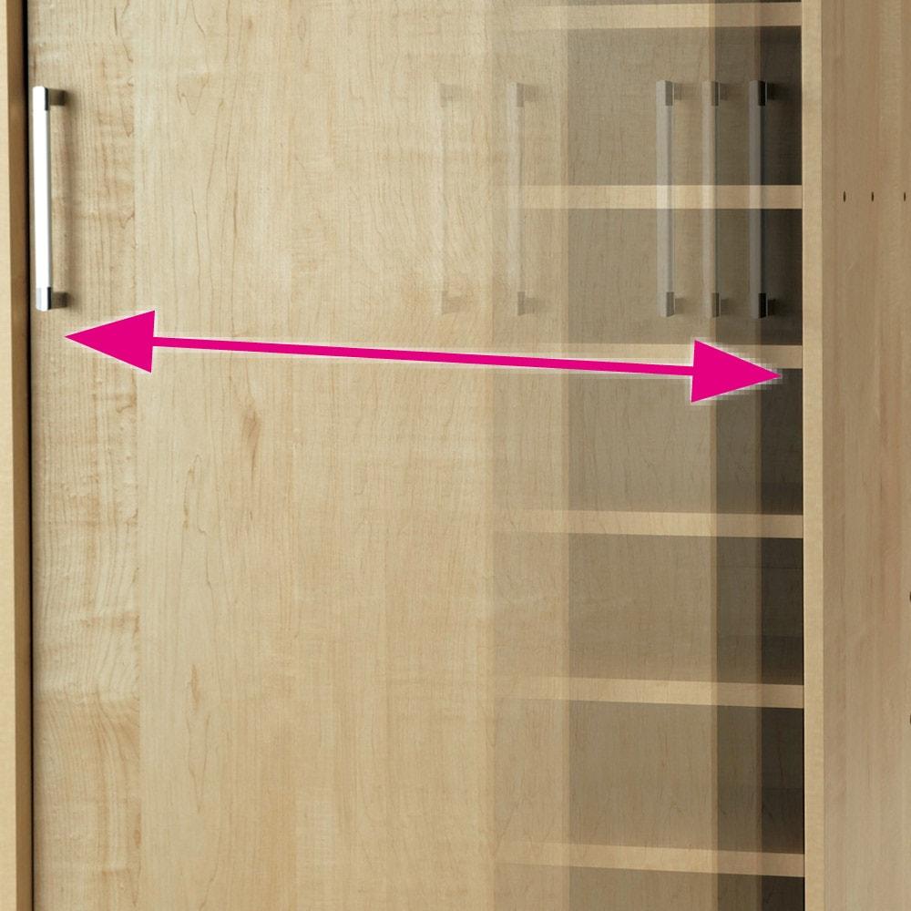 省スペースで大量収納!天然木調引き戸本棚 ロータイプ 高さ90幅115奥行40cm 開閉スムーズな引き戸。