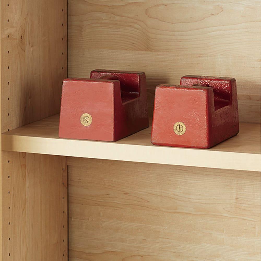 天然木調引き戸本棚 幅78cm奥行25cm 棚板一枚当たりの耐荷重「約20kg 」!