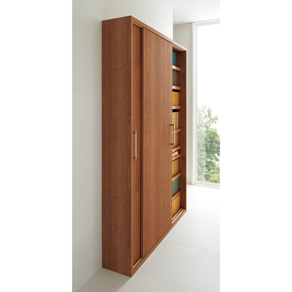 天然木調引き戸本棚 幅115cm奥行25cm (ア)ブラウン 廊下や玄関など狭小スペースでも活躍します。