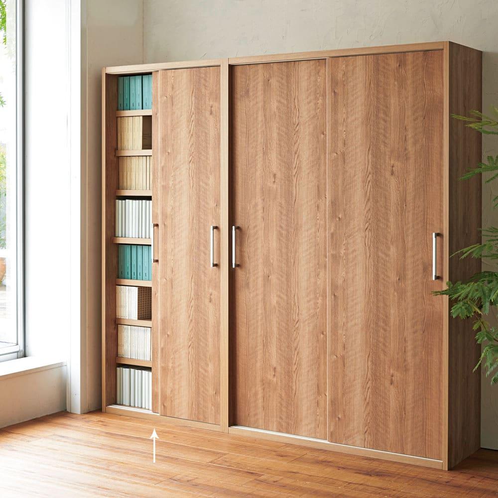 天然木調引き戸本棚 幅78cm奥行40cm ※写真は(左)幅78奥行40cmタイプ、(右)幅115奥行40cmタイプです。