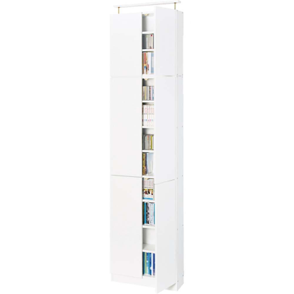 天井突っ張り式壁面ラック 扉タイプ上置き付き 幅60奥行32本体高さ235cm (ア)ホワイト色見本 ※写真は奥行22cmタイプです。お届けは奥行32cmとなります。