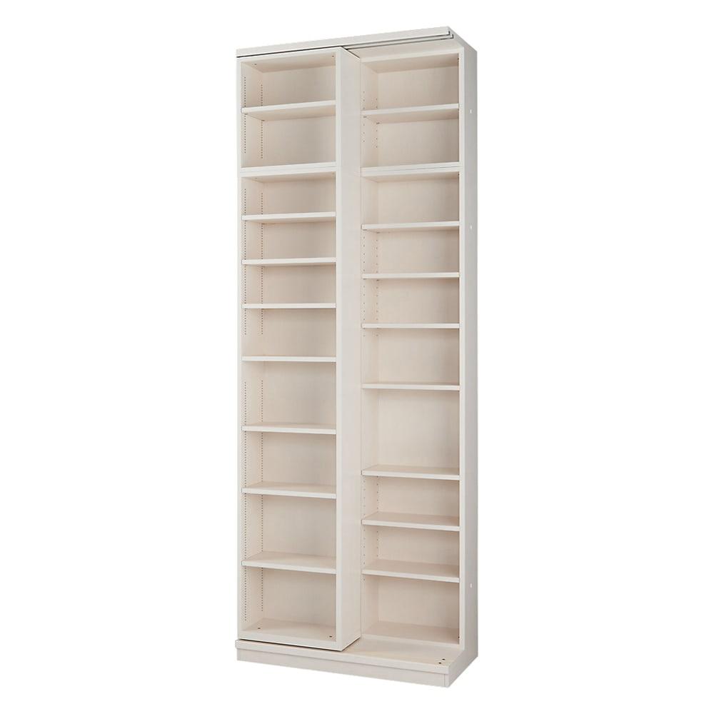 本格仕様 快適スライド書棚 オープン・上置き付き 2列 (ウ)ホワイト(木目)