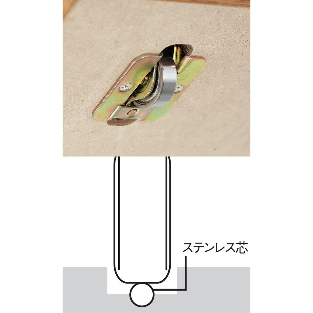 本格仕様 快適スライド書棚 オープン・上置き付き 2列 レール上のステンレス芯と点で接するので、静音でなめらかに動きます。サビや摩耗に強く、1個で約465kgに耐える特殊ベアリングローラーを採用しました。