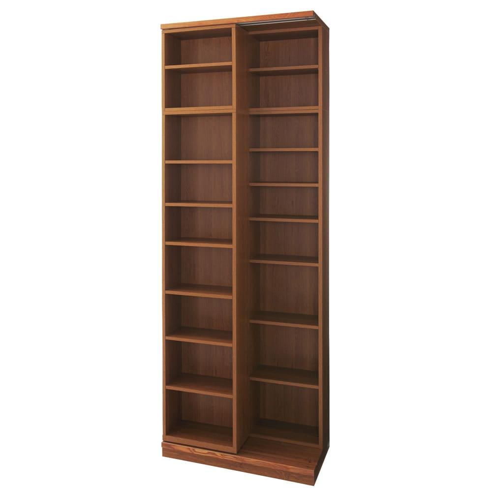 本格仕様 快適スライド書棚 オープン・上置き付き 2列 (イ)ナチュラル
