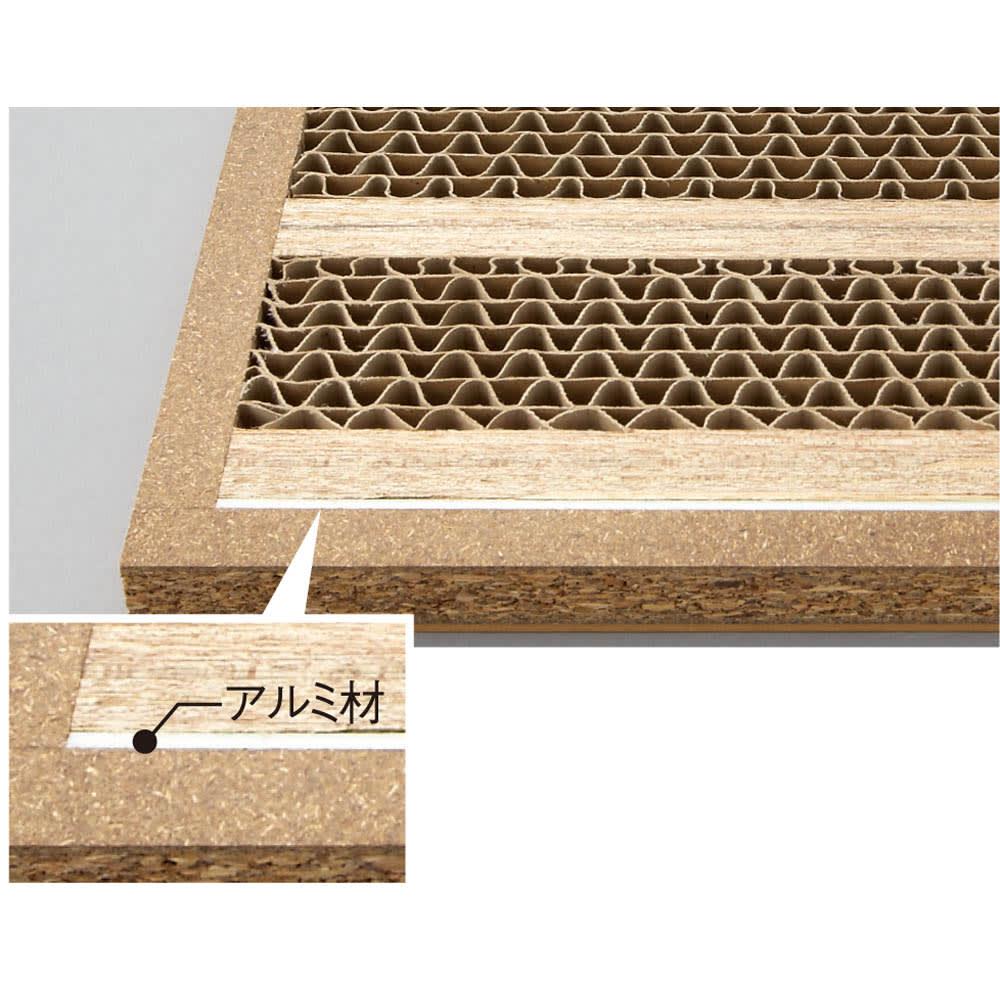 頑丈棚板がっちり書棚(頑丈本棚) ロータイプ 幅90cm 百科事典や全集など重量物も安心、棚板耐荷重約40kgの頑強な作り。 棚板は、単板を積層して強度を増したLVLと、耐久性の高いハニカム構造による頑強仕様。さらにアルミ材で補強。
