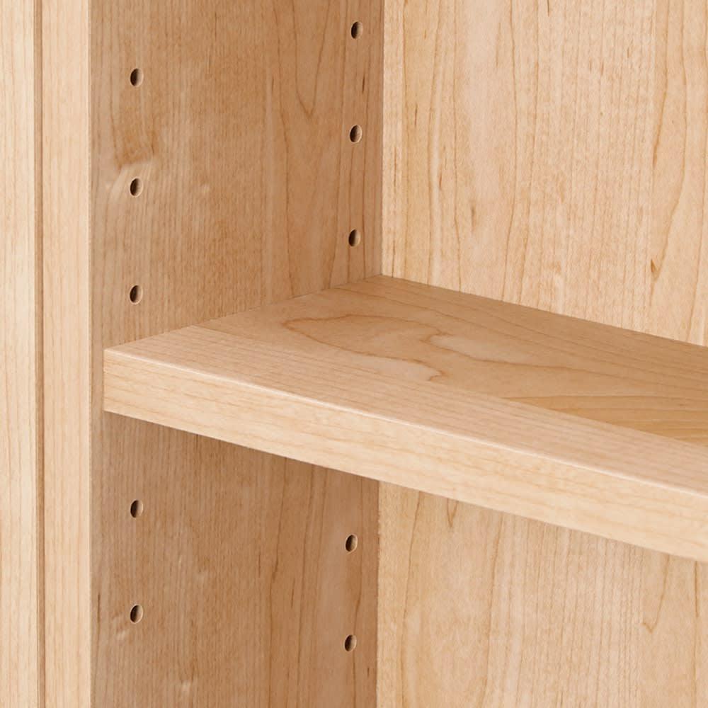 組立不要 たっぷり収納できる天然木調スライド本棚 2重 幅90cm 3cm間隔で高さ調整可能な可動棚。