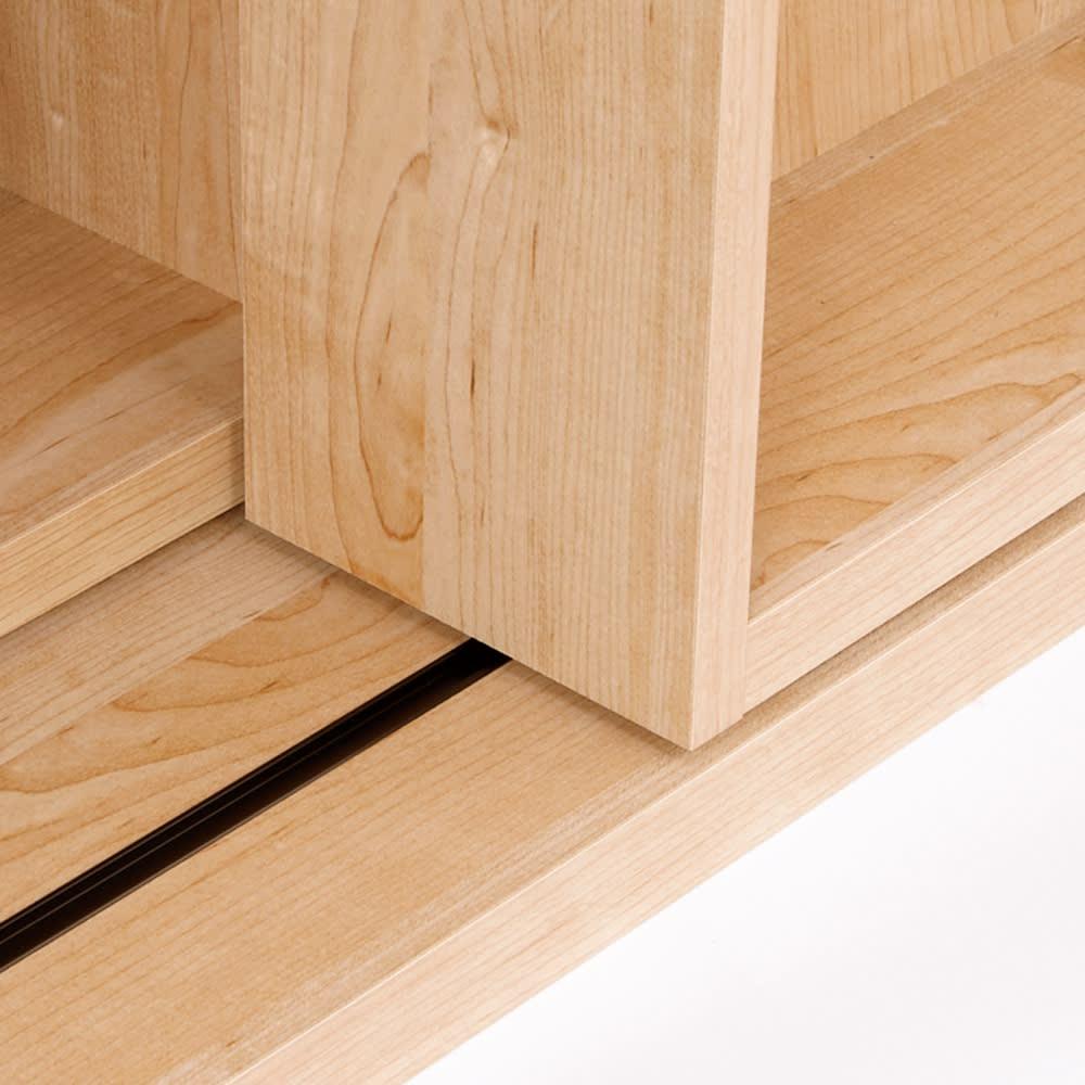 組立不要 たっぷり収納できる天然木調スライド本棚 2重 幅90cm レールで滑らかに動くスライド棚。