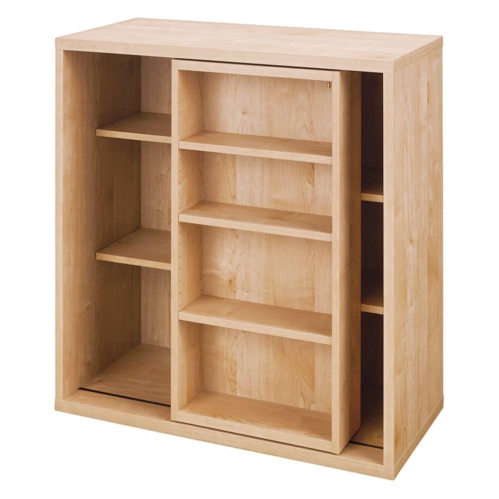 組立不要 たっぷり収納できる天然木調スライド本棚 2重 幅90cm (ア)ナチュラル