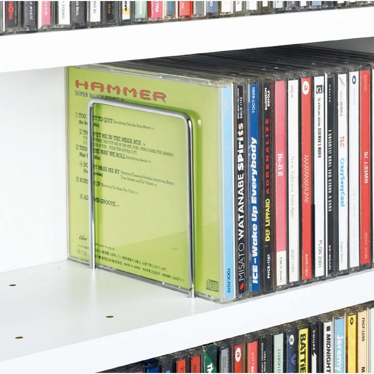 1cmピッチ スライド式すき間収納ワゴン 8段2列セット (DVD収納&コミック・漫画本収納用) 可動式のブックエンドが各段に1個付いています。
