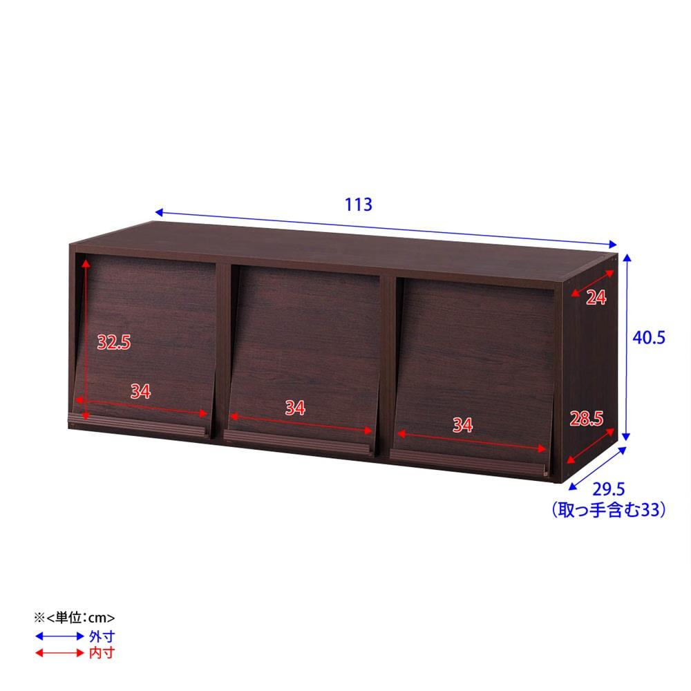 奥行29.5cm 薄型マガジンキャビネット 上段 扉タイプ1段3列[高さ40.5・幅113cm] 詳細図 ※扉が斜めについているため、マガレコ収納部の上部と下部で内寸が若干異なります。