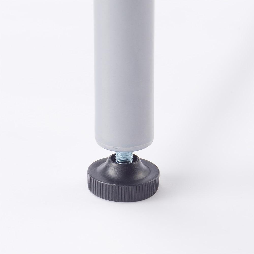 奥行79cm 上下カーテン付き突っ張り頑丈ハンガーラック ハイタイプ・【ワイド】幅260~340cm対応 足元には約1cm調節できるアジャスター付きです。