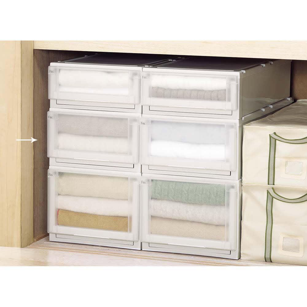 フィッツユニット(Fits unit)収納ケース2個組 【奥行74cmタイプ】幅39・高さ23cm 【組み合わせ例】押入れ収納としても便利にお使いいただけます。