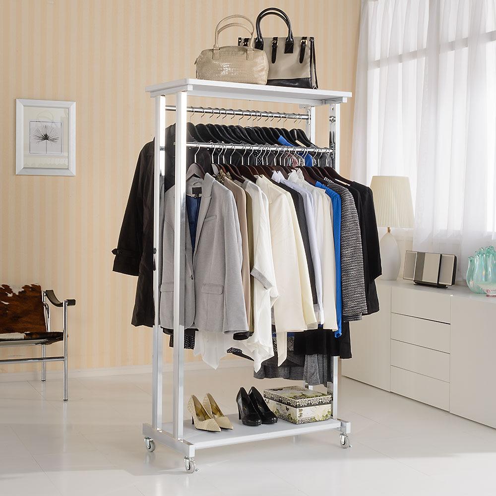 上下棚付き モダン頑丈ハンガーラック ダブル・幅90cm (イ)ホワイト 清潔感がうれしいホワイト色の頑丈ハンガー。部屋の置き場所を選ばないすっきりとしたデザインです。